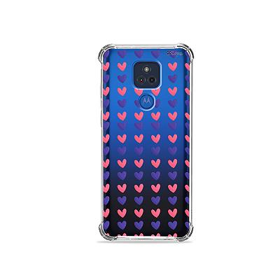 Capa para Moto G Play - Corações Roxo e Rosa