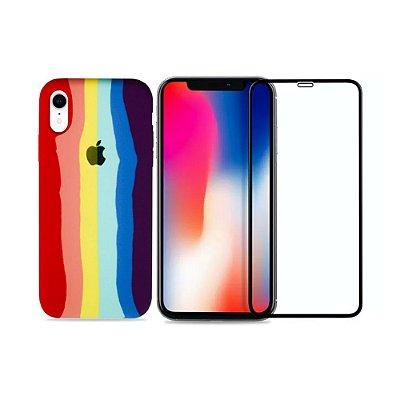 Kit Silicone Case Arco-íris + Película 3D de Vidro para iPhone XR