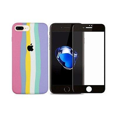 Kit Silicone Case Candy + Película 3D de Vidro para iPhone 8 Plus