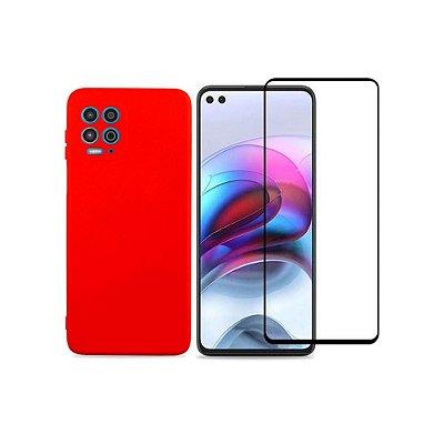 Kit Silicone Case Vermelha + Película 3D de Vidro para Moto G100