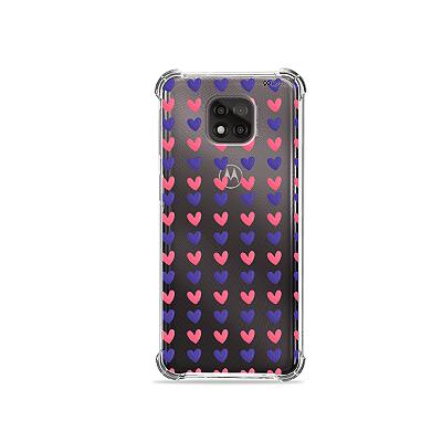 Capa para Moto G Power - Corações Roxo e Rosa