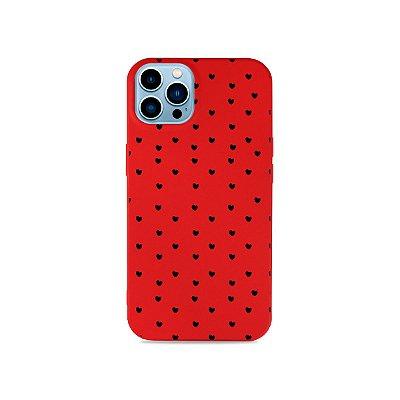 Silicone Case Vermelha para iPhone 13 Pro - Corações Preto