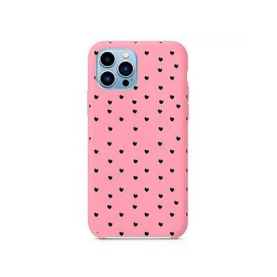 Silicone Case Rosa Claro para iPhone 13 Pro - Corações Preto