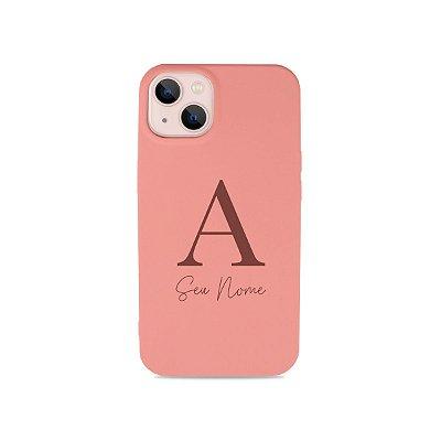 Silicone Case Rosa com Inicial e Nome para iPhone - 99Capas