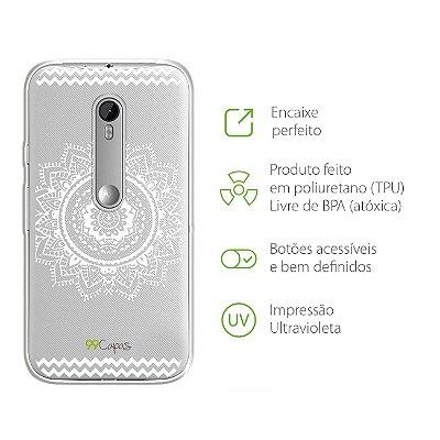 Capa para Moto G3 - Mandala Branca
