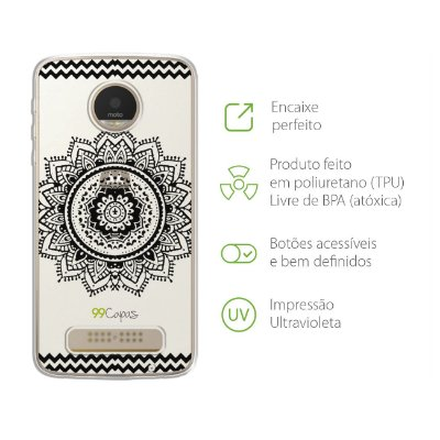 Capa para Moto Z Play - Mandala Preta
