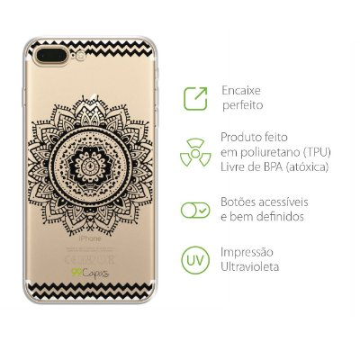Capa para iPhone 7 Plus - Mandala Preta