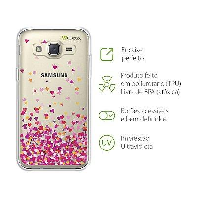 Capa para Galaxy J3 - Corações Rosa