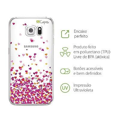 Capa para Galaxy S6 Edge - Corações Rosa