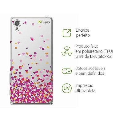 Capa para Xperia XA - Corações Rosa