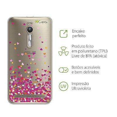 Capa para Asus Zenfone 2 - Corações Rosa