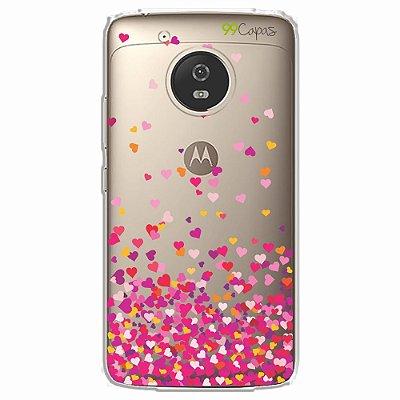 Capa para Moto G5 - Corações Rosa