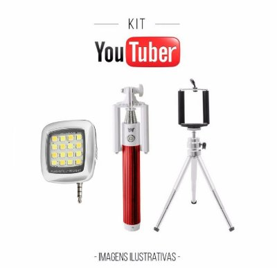 Kit Youtuber - Mini Flash Preto + Bastão de Selfie + Tripé
