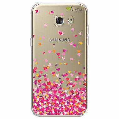 Capa para Galaxy A7 2017 - Corações Rosa