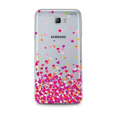 Capa para Galaxy J5 - Corações Rosa