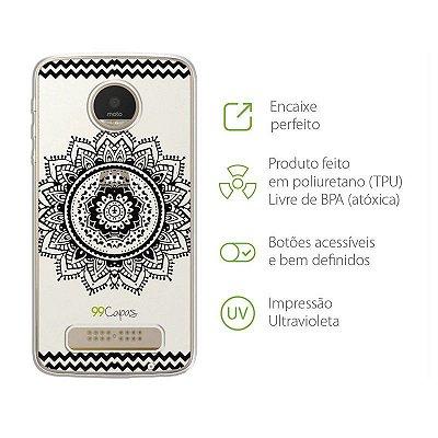 Capa para Moto Z2 Play - Mandala Preta