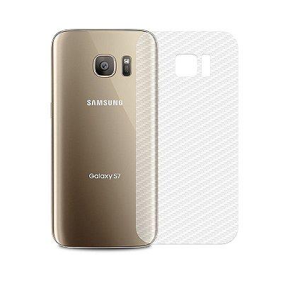 Película Traseira de Fibra de Carbono Transparente para Galaxy S7 - 99capas