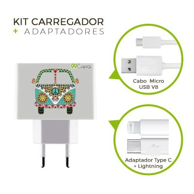 Kit Carregador Personalizado Duplo USB de Parede + Cabo Micro Usb Personalizado + Adaptador Type C e Lightning - Kombi