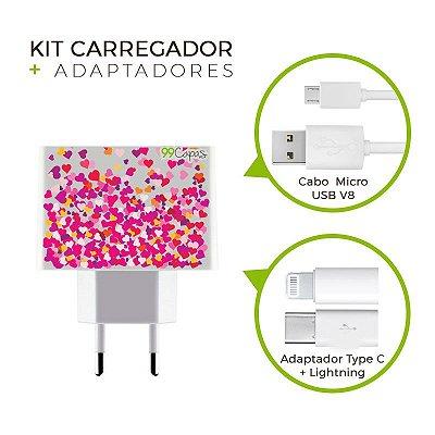 Kit Carregador Personalizado Duplo USB de Parede + Cabo Micro Usb Personalizado + Adaptador Type C e Lightning   - Corações Rosa