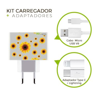 Kit Carregador Personalizado Duplo USB de Parede + Cabo Micro Usb Personalizado + Adaptador Type C e Lightning- Girassóis