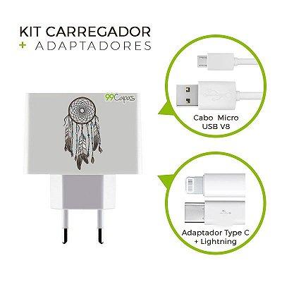 Kit Carregador Personalizado Duplo USB de Parede + Cabo Micro Usb Personalizado + Adaptador Type C e Lightning   - Filtro dos Sonhos