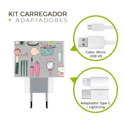 Kit Carregador Personalizado Duplo USB de Parede + Cabo Micro Usb Personalizado + Adaptador Type C e Lightning   - Make Up