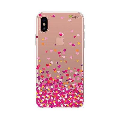 Capa para iPhone X/XS - Corações Rosa
