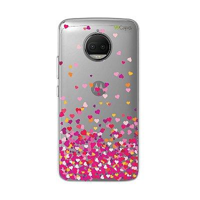 Capa para Moto G5S Plus - Corações Rosa