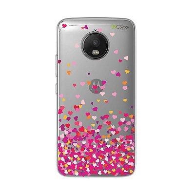 Capa para Moto G5S - Corações Rosa
