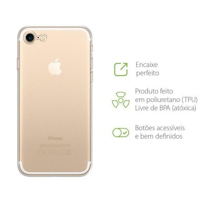 Capa Anti-Shock Transparente para iPhone 8 (com proteção para câmera)