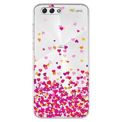Capa para Zenfone 4 - Corações Rosa