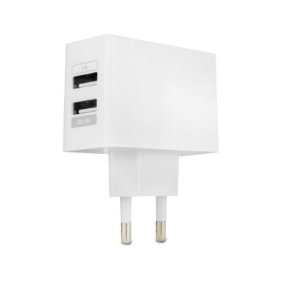 Carregador Duplo USB de Parede - Branco
