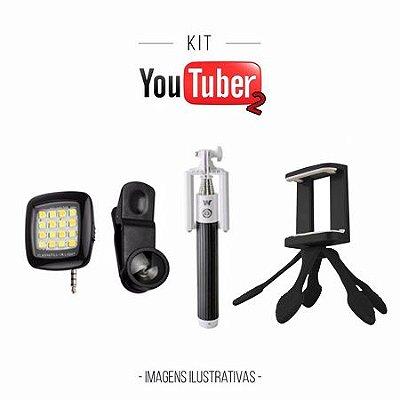 Kit Youtuber2 - Mini Flash Preto + Bastão de Selfie + Lentes Fish Eyes + Octapod Preto