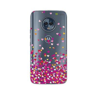 Capa para Moto G6 Plus - Corações Rosa