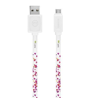 Cabo Micro USB Branco Personalizado - Corações Rosa