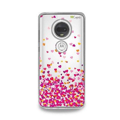 Capa para Moto G7 Plus - Corações Rosa