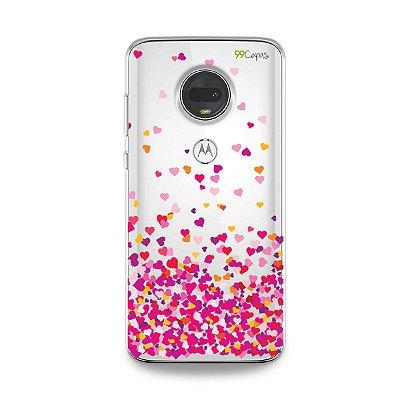 Capa para Moto G7 - Corações Rosa