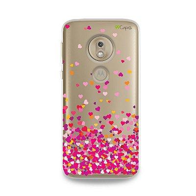 Capa para Moto G7 Play - Corações Rosa