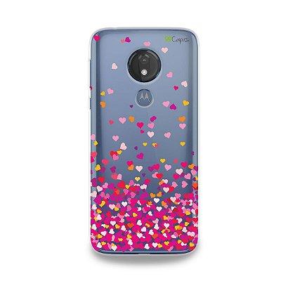 Capa para Moto G7 Power - Corações Rosa