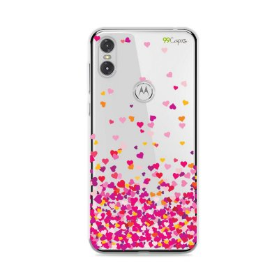 Capa para Moto One - Corações Rosa