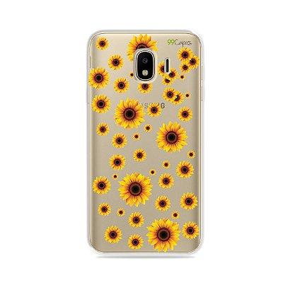 Capa para Galaxy J4 2018 - Girassóis