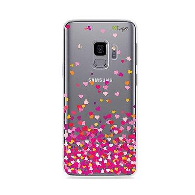 Capa para Galaxy S9 - Corações Rosa