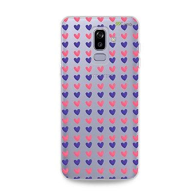 Capa para Galaxy J8 - Corações Roxo e Rosa