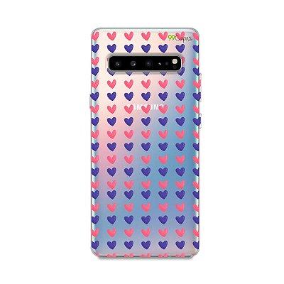 Capa para Samsung Galaxy S10 - Corações Roxo e Rosa