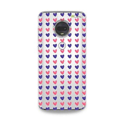 Capa para Moto G7 - Corações Roxo e Rosa