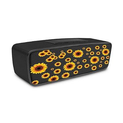 Caixa de Som Bluetooth Preta com estampa de Girassóis - 99Capas