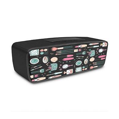 Caixa de Som Bluetooth Preta com estampa de Make Up - 99Capas
