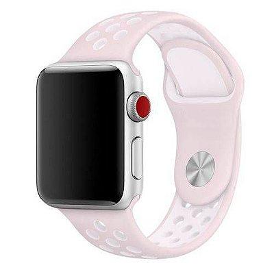 Pulseira esportiva para Apple Watch rosa claro com branco -38/40 mm - 99Capas