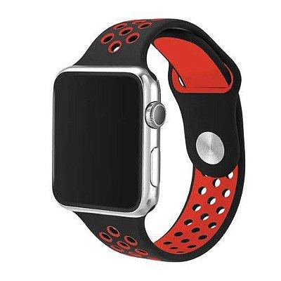 Pulseira esportiva para Apple Watch preto com vermelho -38/40 mm - 99Capas