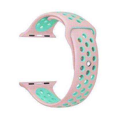 Pulseira esportiva para Apple Watch rosa claro com verde água -38/40 mm - 99Capas